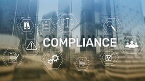 Compliance diagram with icons. Business concept on abstract background.  stock images