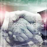 Compliance diagram with icons. Business concept on abstract background.  royalty free illustration