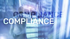 Compliance diagram with icons. Business concept on abstract background stock photos
