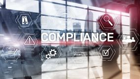 Compliance diagram with icons. Business concept on abstract background. Compliance diagram with icons. Business concept on abstract background stock photo