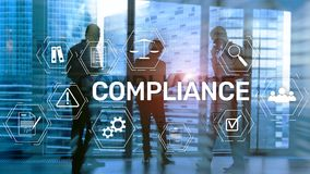 Compliance diagram with icons. Business concept on abstract background. royalty free stock images