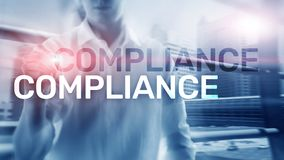 Compliance diagram with icons. Business concept on abstract background policy regulation governance law regulatory legal quality royalty free stock photo