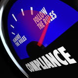 Compliance Gauge Measuring Following Rules Compliant Royalty Free Stock Photo