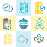 In Compliance Graphic Icon Set. In Compliance Graphic with checkmarks and building icon set stock illustration