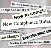 Compliance Headlines Newspaper Torn New Business Regulations. New Compliance Rules newspaper headlines words torn from the news, including Revised Guidelines vector illustration