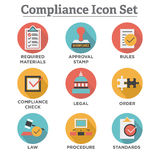 In compliance - icon set showing a company passed inspection Royalty Free Stock Images