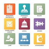 In compliance - icon set that shows a company passed inspection. In compliance icon set that shows a company passed inspection Stock Image