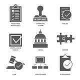 In compliance - icon set that shows company passed inspection. In compliance - icon set that shows a company passed inspection Stock Photo