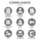 In compliance icon set that shows a company passed inspection. In compliance - icon set that shows a company passed inspection Royalty Free Stock Photos