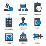 In compliance - icon set that shows a company passed inspection. In compliance icon set that shows a company passed inspection Royalty Free Stock Photography