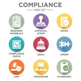 In compliance - icon set that shows a company passed inspection. In compliance icon set that shows a company passed inspection Royalty Free Stock Photos