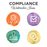 In compliance - icon set that shows a company passed inspection. Watercolor Stock Photography
