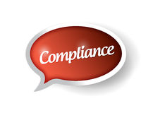 Compliance message on a speech bubble. Stock Photography