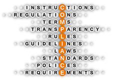 Compliance. (orange-white crossword puzzles series royalty free illustration