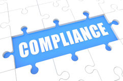 Compliance. Puzzle 3d render illustration with word on blue background Stock Photo