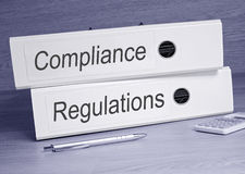 Compliance and Regulations Binders Royalty Free Stock Photo