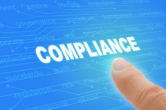 Compliance Regulations Computer Words with Finger Closeup Stock Images