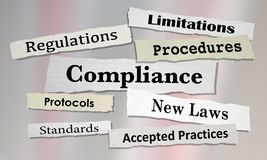 Compliance Regulations Laws Rules News Headlines. 3d Illustration Royalty Free Stock Images