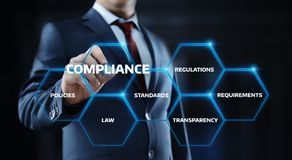 Compliance Rules Law Regulation Policy Business Technology concept stock image