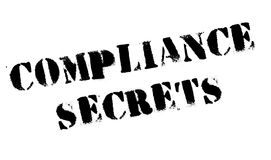 Compliance Secrets rubber stamp. Grunge design with dust scratches. Effects can be easily removed for a clean, crisp look. Color is easily changed Stock Image