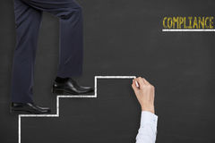 Compliance Teamwork Step on Blackboard. Working Conceptual Business Concept Royalty Free Stock Photo