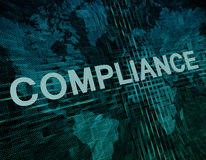 Compliance. Text concept on green digital world map background stock illustration