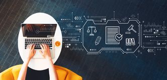 Compliance theme with person using a laptop royalty free stock images