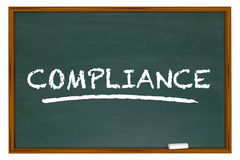 Compliance Training Education Rules Laws Chalkboard Stock Image