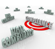 Compliance Vs Non Compliant Words Targeting Goal Stock Photo