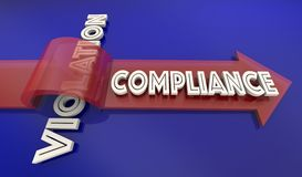 Compliance Vs Violation Arrow Over Word Comply Follow Rules 3d I. Llustration Stock Photography