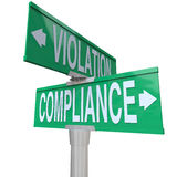 Compliance Vs Violation Street Road Sign Direction Advice Follow Royalty Free Stock Photography