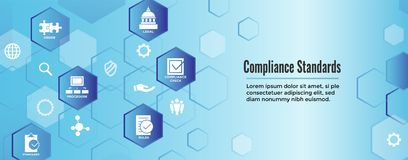 In compliance web banner - icon set that shows a company passed. In compliance web banner with icon set that shows a company passed inspection Royalty Free Stock Photography