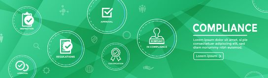 In compliance web banner - icon set that shows a company passed. In compliance web banner with icon set that shows a company passed inspection Stock Photography