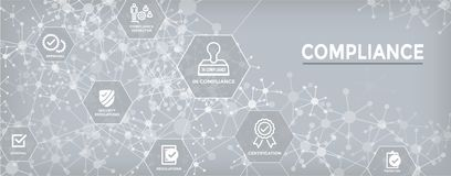 In compliance web banner - icon set that shows a company passed. In compliance web banner with icon set that shows a company passed inspection Stock Images