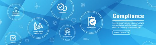 In compliance web banner - icon set that shows a company passed. In compliance web banner with icon set that shows a company passed inspection Stock Image