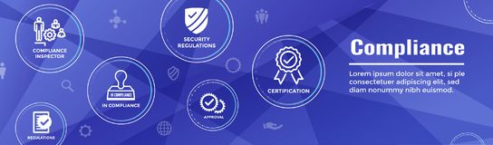 In compliance web banner - icon set that shows a company passed. In compliance web banner with icon set that shows a company passed inspection Stock Photo
