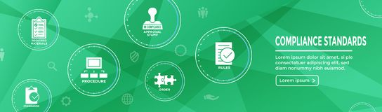 In compliance web banner - icon set that shows a company passed. In compliance web banner with icon set that shows a company passed inspection Royalty Free Stock Images