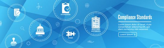 In compliance web banner - icon set that shows a company passed. In compliance web banner with icon set that shows a company passed inspection Royalty Free Stock Photos