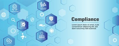 In compliance web banner - icon set that shows a company passed. In compliance web banner with icon set that shows a company passed inspection Royalty Free Stock Image
