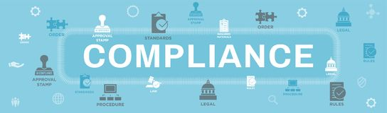 In compliance web banner - icon set that shows a company passed. In compliance web banner with icon set that shows a company passed inspection vector illustration