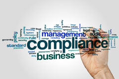 Compliance word cloud concept on grey background Stock Photo