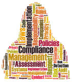 Compliance word cloud. Shaped as a human bod Stock Images