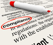 Compliance Word Dictionary Definition Word Meaning. Compliance word circled in a dictionary and a definition to explain the meaning, with terms like rules Stock Image