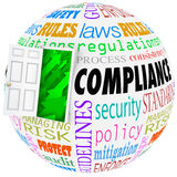 Compliance Words Sphere Following Rules Regulation. Compliance words globe following rules, regulations, standards and laws in business or life Stock Photos