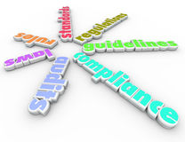 Compliance Words Spiral Pattern Rules Regulations Laws Guideline Stock Photos