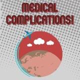 Complicações médicas do texto da escrita Conceito que significa a evolução ou a consequência desfavorável de um avião da  ilustração do vetor