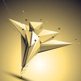 Complicated abstract gold 3D illustration, vector Royalty Free Stock Photos