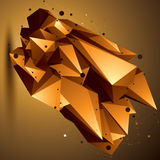 Complicated abstract golden 3D shape, vector digital lattice obj. Ect. Technology theme Royalty Free Stock Photo