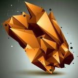 Complicated abstract golden 3D shape, vector digital lattice obj Stock Image