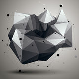 Complicated abstract grayscale 3D shape, vector digital lattice Royalty Free Stock Photo